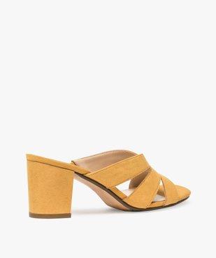 Sandales femme mules à talon en suédine unie vue4 - GEMO(URBAIN) - GEMO