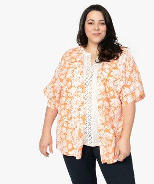 Chemise femme kimono fluide à fleurs vue1 - GEMO (G TAILLE) - GEMO